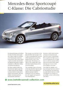 Karmann Mercedes-Benz C-Klasse Sportcoupé Cabriolet Concept 2001 Prospekt 001-001